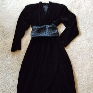 EUC- Stunning Black Velvet Faux Wrap Dress